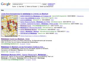 Google Suchergebnisse Webdesign Bochum